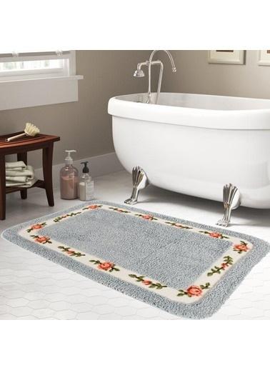 Giz Home Gül Banyo Paspası 70X120 Blue Renkli